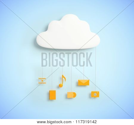Cloud Service Concept With Yellow Media Social Icon