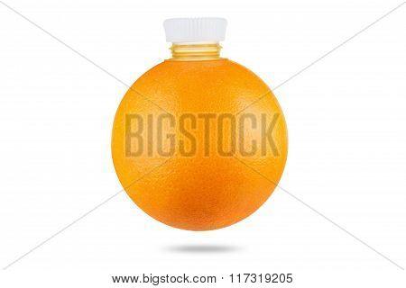 Concept, Orange As Bottle Of Fresh Juice On White Background