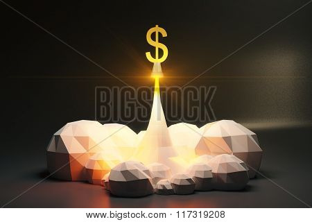 Dollar Sign Off From Spaceport, Polygonal Style Concept