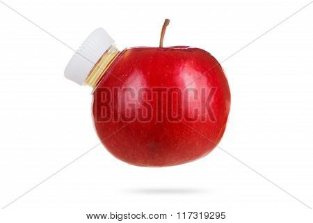 Concept, Apple As Bottle Of Fresh Juice On White Background