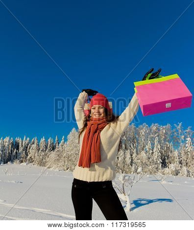 Sunny Winter Woman Shopping
