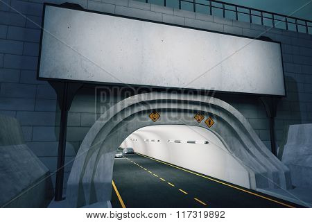 Entrance To Tunnel, With A Blank Billboard At Evening, Mock Up
