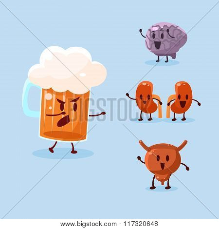 Beer and Alcohol Harm. Vector Illustration Set