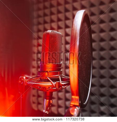 Studio microphone with red on air light