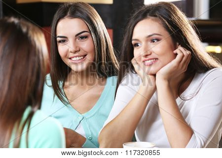 Attractive girls resting in cafe