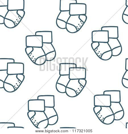 Vector seamless pattern for web design, prints etc. Repeating background with little socks can be co