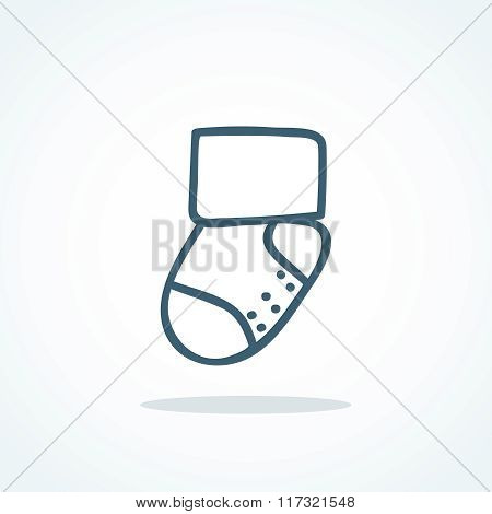 Vector little socks icon. Children theme background. Baby shower invitation card template. Sign for