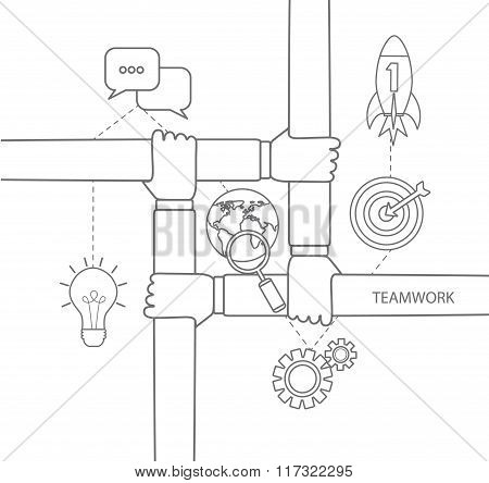 teamwork concept linear