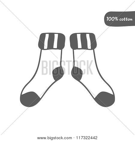 Vector doodle socks icon for web design, prints etc. Handdrawn symbol of footwear. Cute outline llus