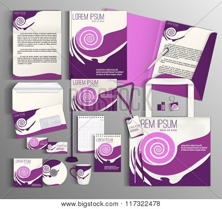 Corporate Identity set with violet pink pattern.