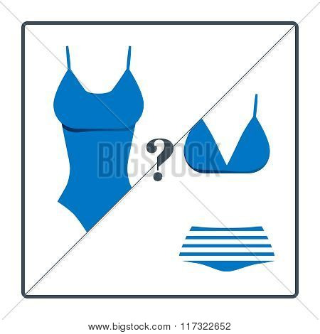 Swimsuit choosing icons set isolated on white background.  Vector illustration. Summer vacation them