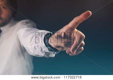You Are Fired Concept, Boss Gesturing Way Out Hand Sign
