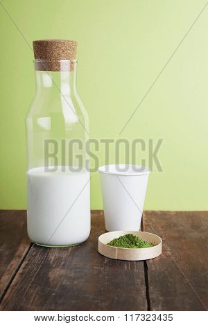 Full Milk Bottle, Matcha, Paper Glass On Green Back