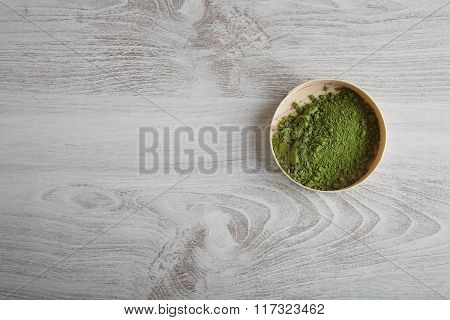 Top View Matcha Tea In Box On Table