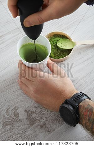 Matcha Latte Preparation Step Four Tattoo Hands