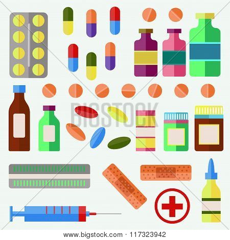 Pills and drugs vector set
