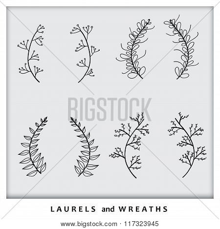 Hand Drawn Laurel Wreath Icons Collection Set Vector Graphic
