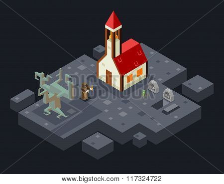Cursed Church Ghost Monk Evil Tree Grave Flat Design Isometric 3d Vector Illustration