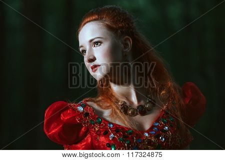 Woman dressed in medieval dress