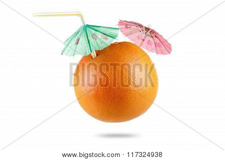 Grapefruit With Drinking Straw And Umbrella Isolated On White