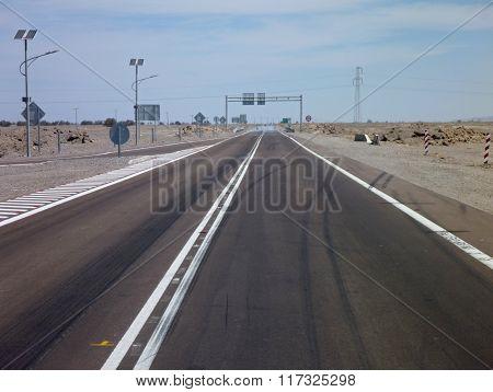 Asphalt Road In Atacama Desert In Chile