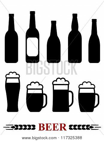 beer bottle and mug with foam set