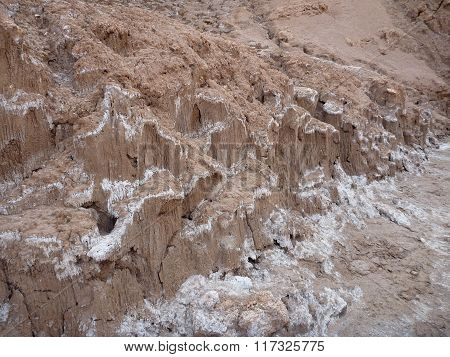 Dried Salt In Valle De La Luna In Atacama Desert