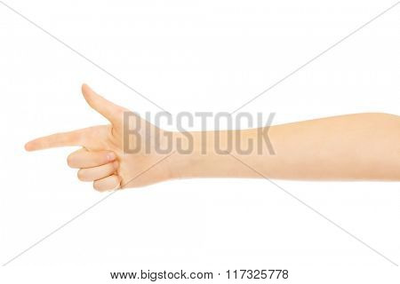 Woman's two finger like a gun