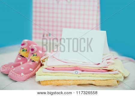 The baby clothes with card