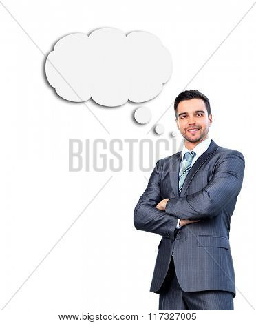 Portrait of a businessman thinking about something
