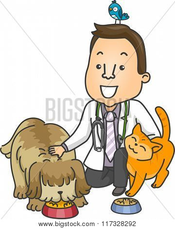 Illustration of a Male Veterinarian Petting Animals as He Feeds Them