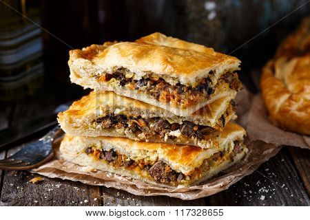 Homemade pie stuffed with liver