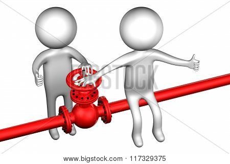 3D People With Pipeline With Valve