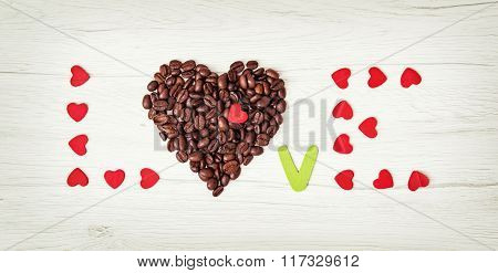 Title Love Of Coffee Beans And Many Little Red Hearts On The Wooden Background, Valentine's Day