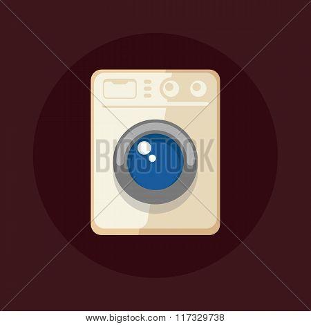 Flat Design Modern Washing Machine