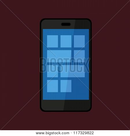Flat Design Black Touchscreen Smartphone Icon Isolated On Dark Background