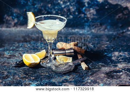 Fresh Lemon Margarita Served In Bar And Casino