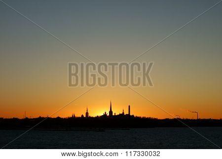 Tallinn skyline at sunset