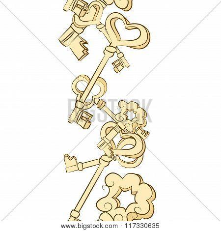 Seamless row of vintage keys