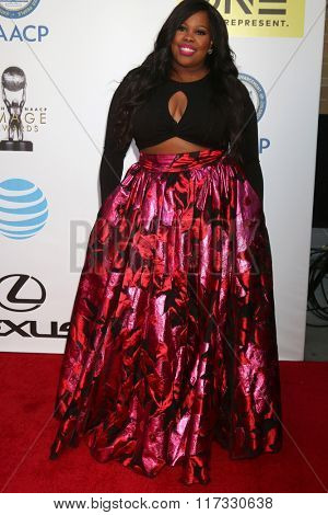 LOS ANGELES - FEB 5:  Amber RIley at the 47TH NAACP Image Awards Arrivals at the Pasadena Civic Auditorium on February 5, 2016 in Pasadena, CA