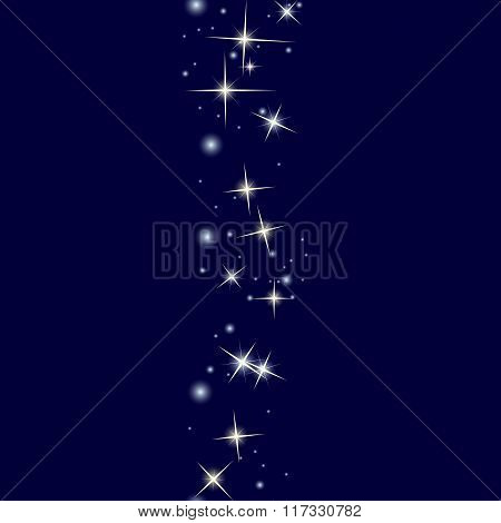Starry line on dark blue background