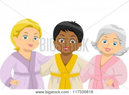 Illustration of Elderly Female Friends Hanging Out a Spa in Their Bathrobes