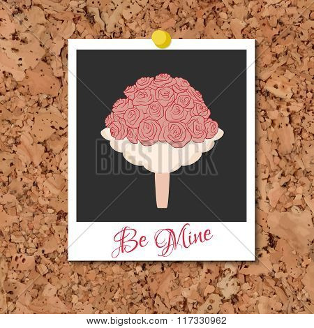 Vector corkboard with instant photo card and wedding flowers