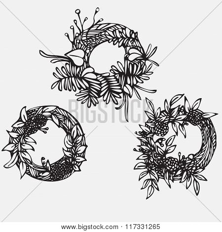 Hand Drawn Illustration Vintage Decorative Lovely Set Of Laurels, Ribbons, Branches And Wreaths Dood