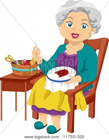 Illustration of an Elderly Woman Working on an Embroidery Project