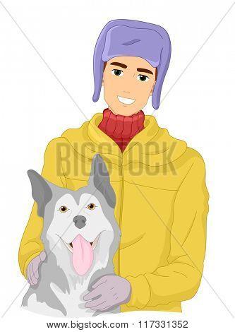 Illustration of a Man Petting His Siberian Husky
