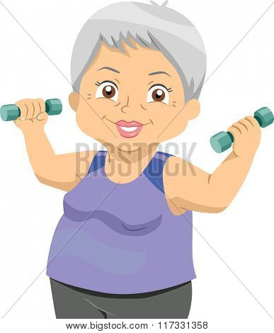 Illustration of Senior Woman holding dumbbells