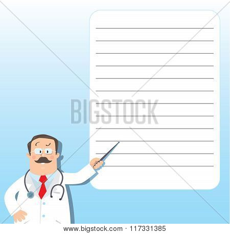 Funny doctor with pointer. Design template