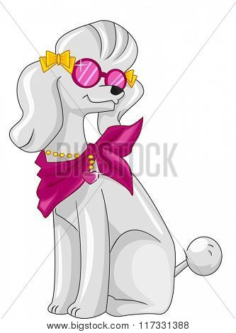 Illustration of a Fashionable Poodle Wearing a Pink Scarf and Matching Glasses