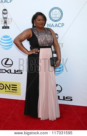LOS ANGELES - FEB 5:  Adrienne C. Moore at the 47TH NAACP Image Awards Arrivals at the Pasadena Civic Auditorium on February 5, 2016 in Pasadena, CA